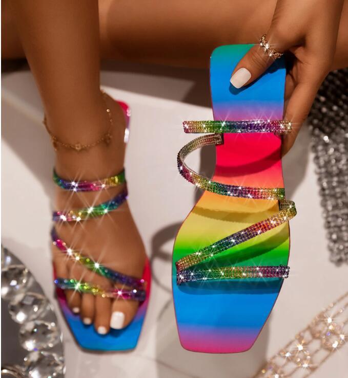 2020 Summer Explosion Models Rhinestone Rainbow Women Sandals Beautiful Female Slippers Outdoor Beach Shoes Fashion Flat Shoes