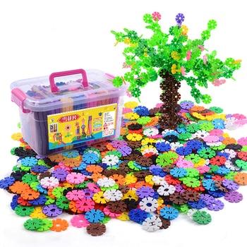 300-1000pcs Plastic Snowflake Interconnecting Blocks Building & Construction Toys Children 3D Puzzle Kindergarten Baby Game Toy
