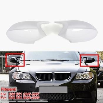M3 Style Side Rear View Mirror Cover Replacement White For-BMW 3 Series E90 E91 2005-2007 E92 E93 2006-2009