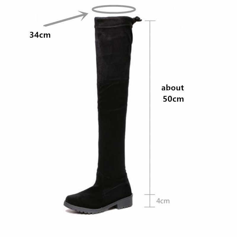 2019 printemps/automne bottes à lacets sur le genou à bout rond bottes en daim pour femmes A01