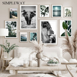 Nature Plant Leaf Landscape Poster Lion Animal Canvas Wall Art Print Nordic Plam Tree Starry Night Decorative Picture Home Decor