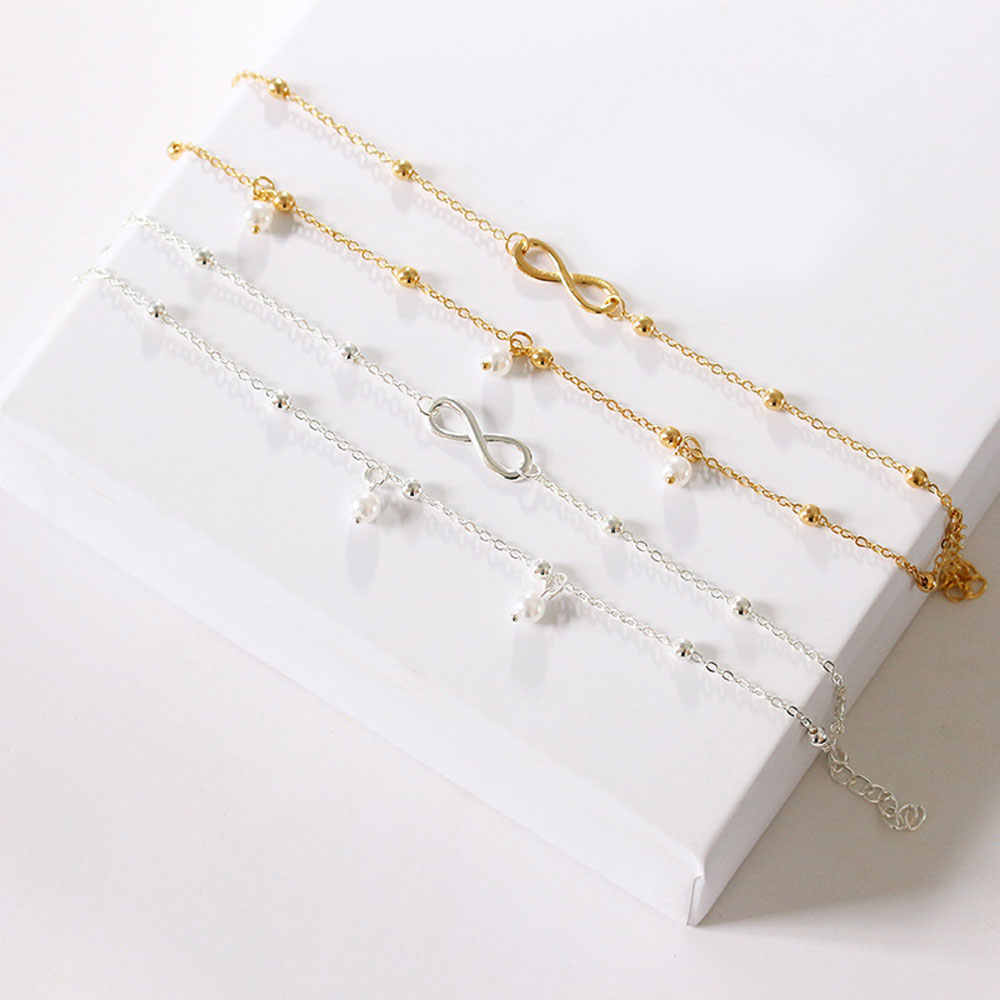 Gorąca sprzedaż podwójna warstwa perła łańcuszek na kostkę dla kobiet złoto srebro metalowe małe koraliki łańcuszek na kostkę boso, w którym znajduje się lato stóp biżuteria