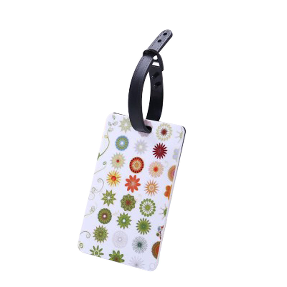 Luggage Tag Portable Decorative DIY ID Badge Eye Catching Suitcase Floral Fashion Adjustable Buckle Soft PVC Label Name Address