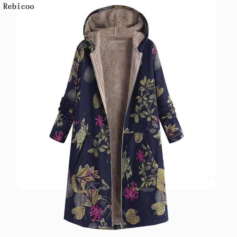 Fashion Womens coat Winter Warm coat women Outwear Floral Print Hooded Pockets Vintage Oversize Coats Womens