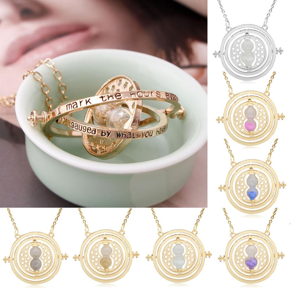 Action Harri  Hermione Time Turner Neclace Toy Sand Glass Pendants From HP Movie Model Cosplay Decoration Gift Toys For Children