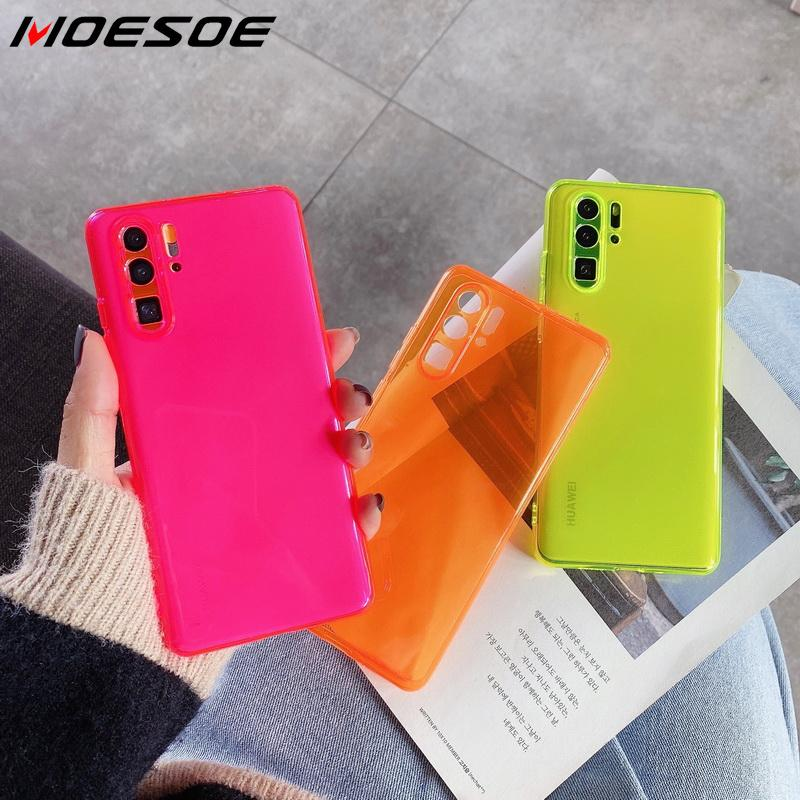Neon Fluorescent Solid Color Phone Case For Xiaomi Mi 10 Pro Redmi Note 8 7 Pro K30 K20 Pro Case Soft IMD Clear Phone Back Cover