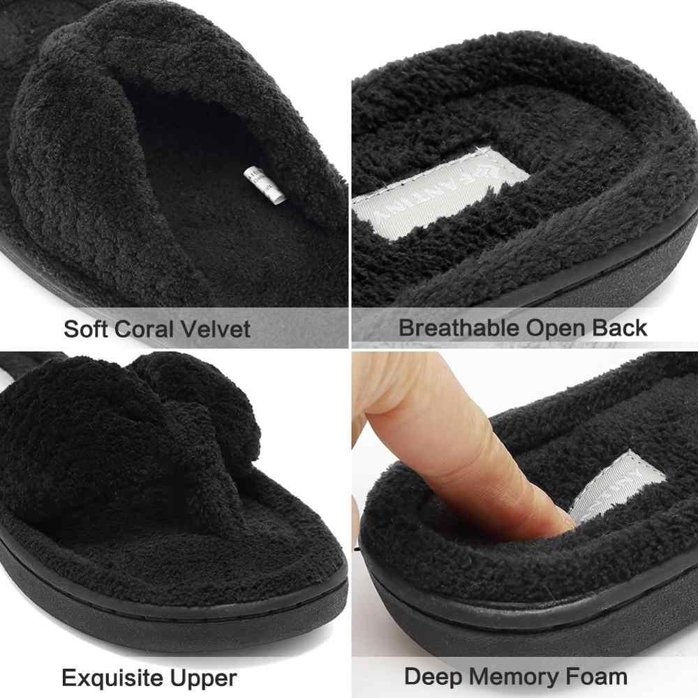 CIOR Fantiny Women/'s Cozy Memory Foam Spa Thong Flip Flops House Indoor Slippers