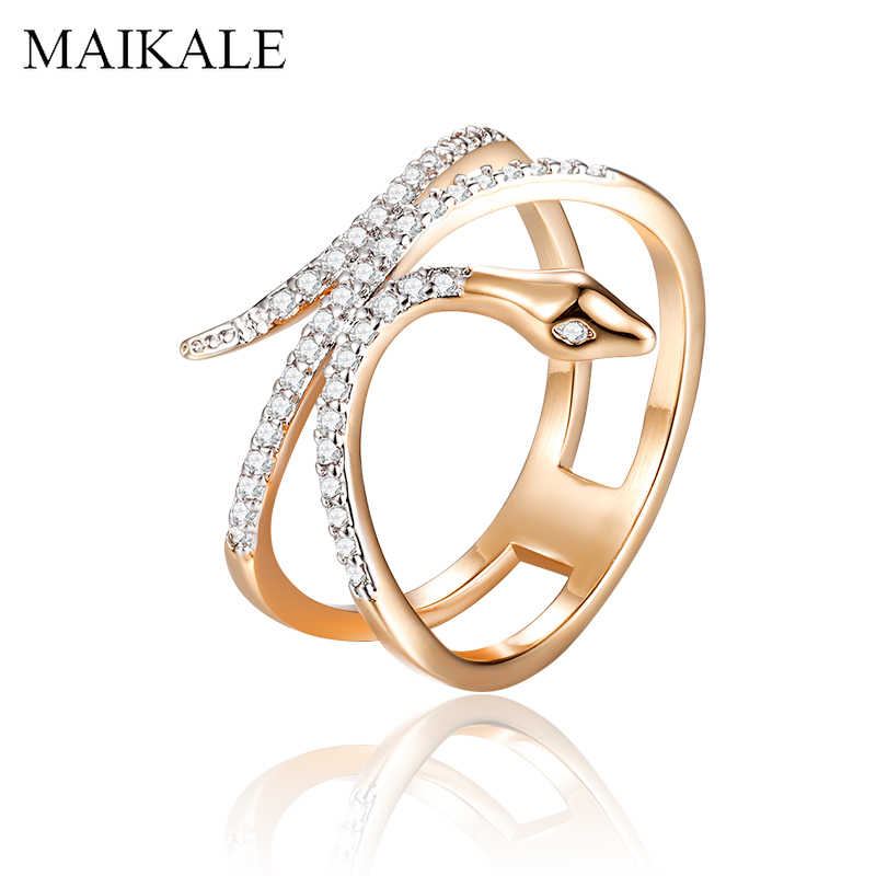 MAIKALE Unique Design Luxury Snake Rings AAA Zirconia Cobra Finger Ring Gold Silver Color Big Rings for Women Punk Party Jewelry
