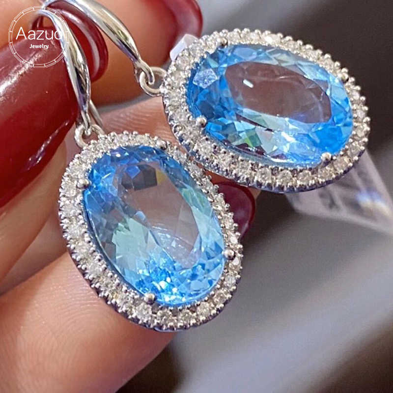 Or 14Kt Naturel Bleu Mystic Topaz /& Diamant Rond Design Clous D/'Oreilles