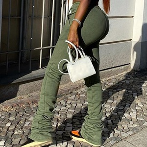 Laamei Women Stacked Sweatpants Sexy High Waist Loose Pants Women Fashion Sport Joggers Elastic Fall Bell Bottom Flare Trousers