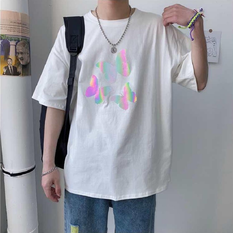 T-shirt men summer 100% cotton <font><b>Hong</b></font> <font><b>Kong</b></font> style reflective butterfly short-sleeved clothes tide fat people loose wild <font><b>tshirt</b></font> image