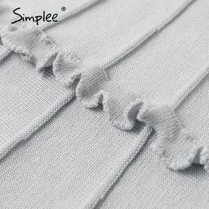 Image 5 - Simplee Elegant knitted skirt womens High waist A line ruffle stripe skirt female Autumn winter sweet pink ladies skirts 2019