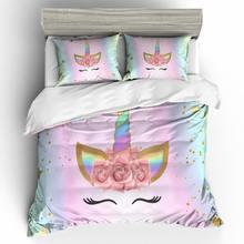 Ropa de cama de unicornio 3D, funda nórdica y fundas de almohada, talla EU / AU /US