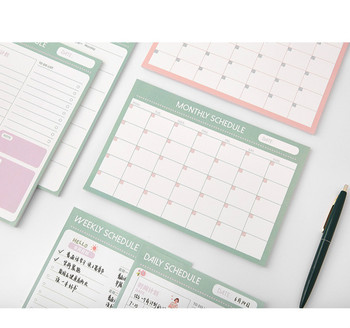 2021 New 30 Sheets Pink Blue Monthly Plan Paper Pad 14*21cm image