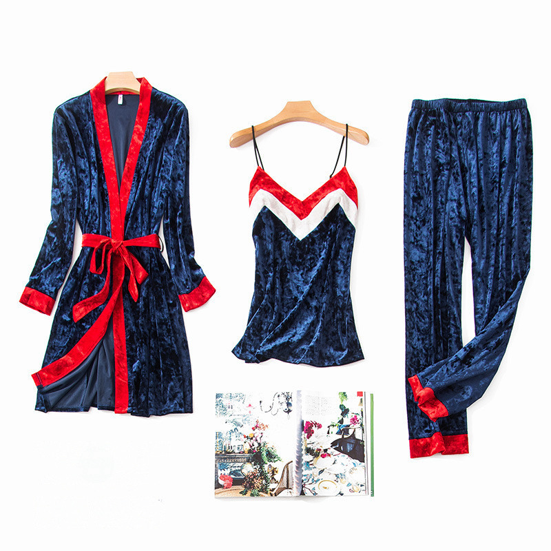 JULY'S SONG  Women Sleepwear Pajamas Set  3 Pieces Velvet Warm Sexy Stripe Pajamas Winter Sleepwear Long Sleeves Long Pants