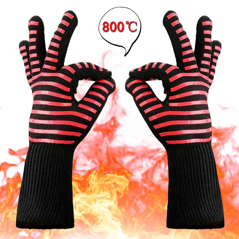 Горячая 1 пара барбекю гриля кулинарные перчатки экстремальные Жаростойкие духовые перчатки NDS - Цвет: 1