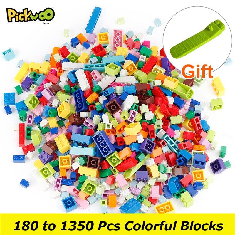 Pickwoo 180 до 1350 шт. Классический бренд строительные блоки город DIY Творческий кирпич основная Модель Фигурки игрушки небольшой Размеры блок