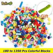 Pickwoo 180 do 1350 sztuk klasyczne marki Building Blocks miasto DIY kreatywne cegły luzem Model figurki dzieci zabawki mały rozmiar bloku