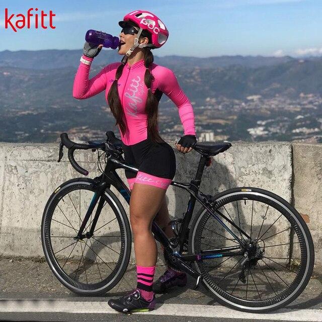 Kafitt ciclismo wear ciclismo wear terno de penetração de bicicleta de montanha feminina camisa de manga comprida apertado ao ar livre roupas esportivas 3