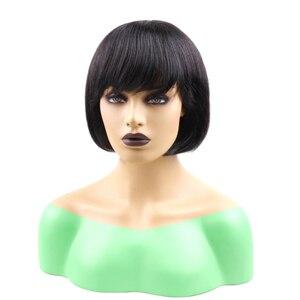 Image 3 - Pelucas de cabello humano brasileño con flequillo, pelo liso barato, corte Pixie, peluca con flequillo, 1 Bob corto, compra gratis