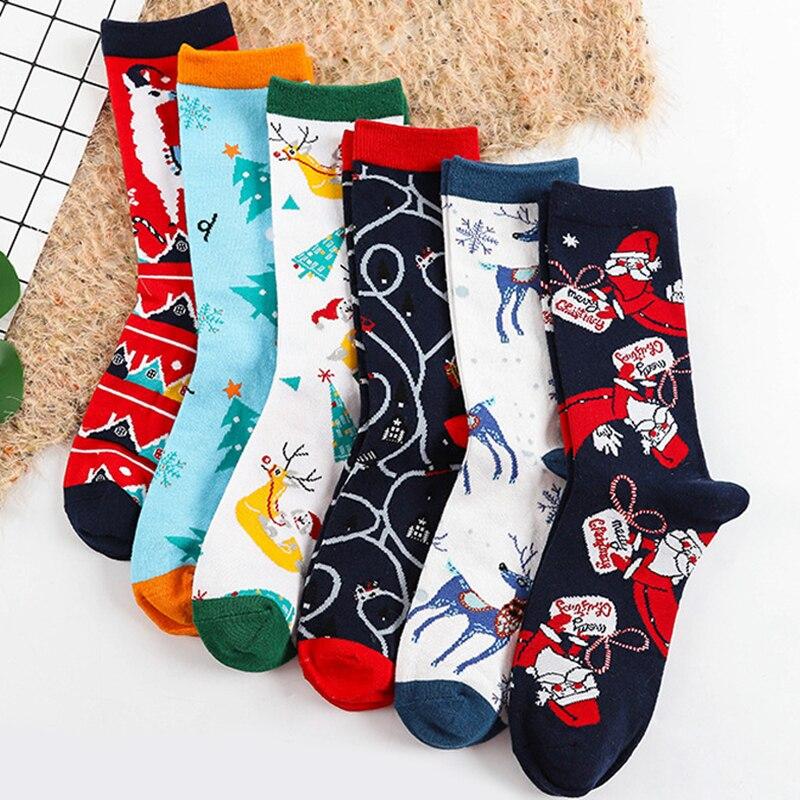 Christmas Women Fashion Warm Elk Snowman Socks Casual Cotton Medium Tube Socks