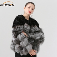 QIUCHEN PJ19023 2019 new arrival real fox fur coat with real sheep fur fashion mode hot sale Free shipping