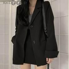 De alta calidad de moda de otoño negro Formal chaqueta de Chaqueta de traje de corte Slim Oficina abrigos causales Ropa de Trabajo dama chaqueta de abrigo de las mujeres de talla grande