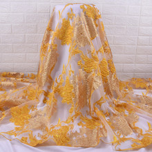 African Lace Fabric 2021 Tulle Fabric 5 Yards Brocade Jacquard Nigeria Lace Fabric For Evening Dress Wedding Dresses  2078A