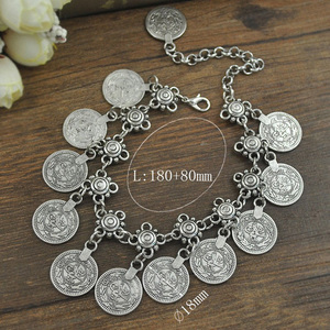 Image 5 - Antique Coin Pendant Chain Bracelet Silver Color Turkish Allah Carved Round Tag Adjustable Foot Chain Anklet