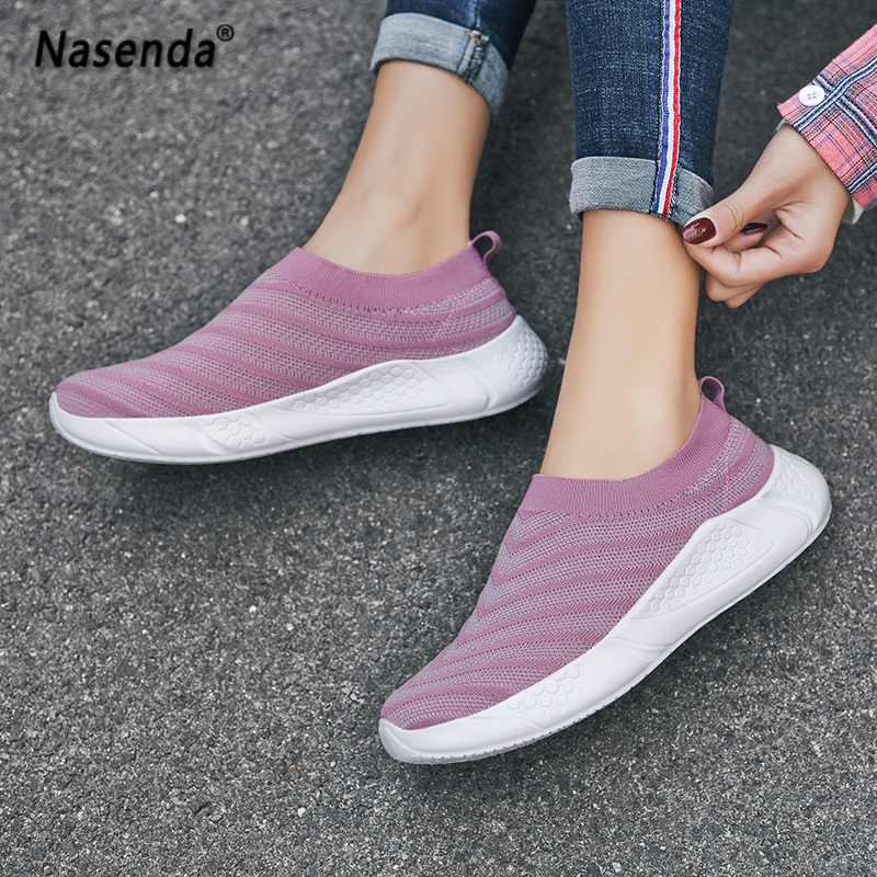 Summer Breathable Women Shoes Flats Casual Fashion Ladies Shoes Slip on Walking Shoes for Woman White Female Footwear 41