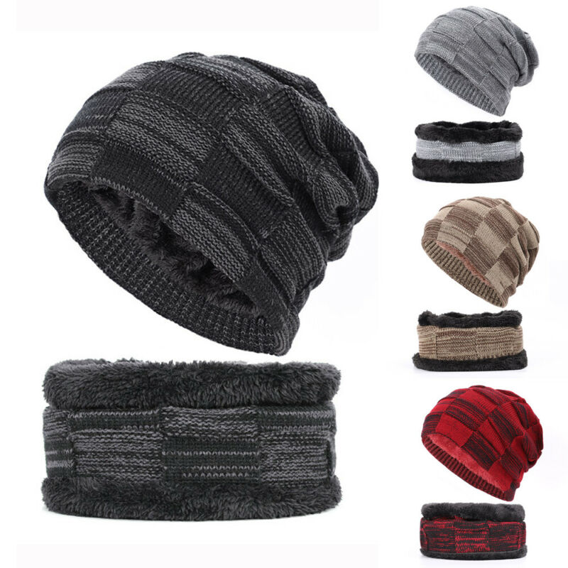 Brand New 2-Pieces Men Women Winter Ultra Warm Outdoor Plus Fleece Beanie Hat+Scarf Set Warm Knit Thick Fleece Lined Caps