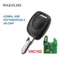PCF7946A VAC102 Remoto Substituição Fob Chave Do Carro para Renault Clio Kangoo 2001 2002 2003 2004 2005 2006 2007 2008