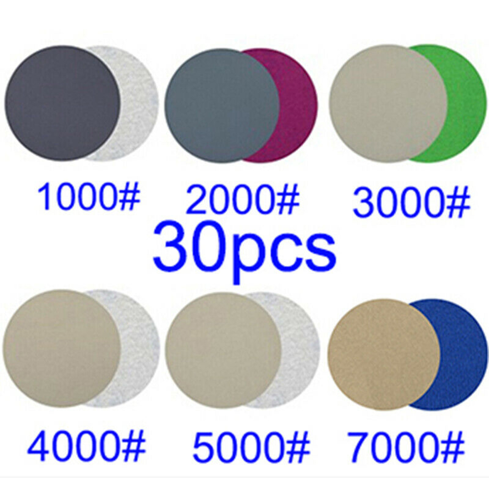 30pcs Polisher Sanding Discs Papers 3inches 75mm Wood Wet Dry Sandpaper Woodworking Polishing Sander Papers