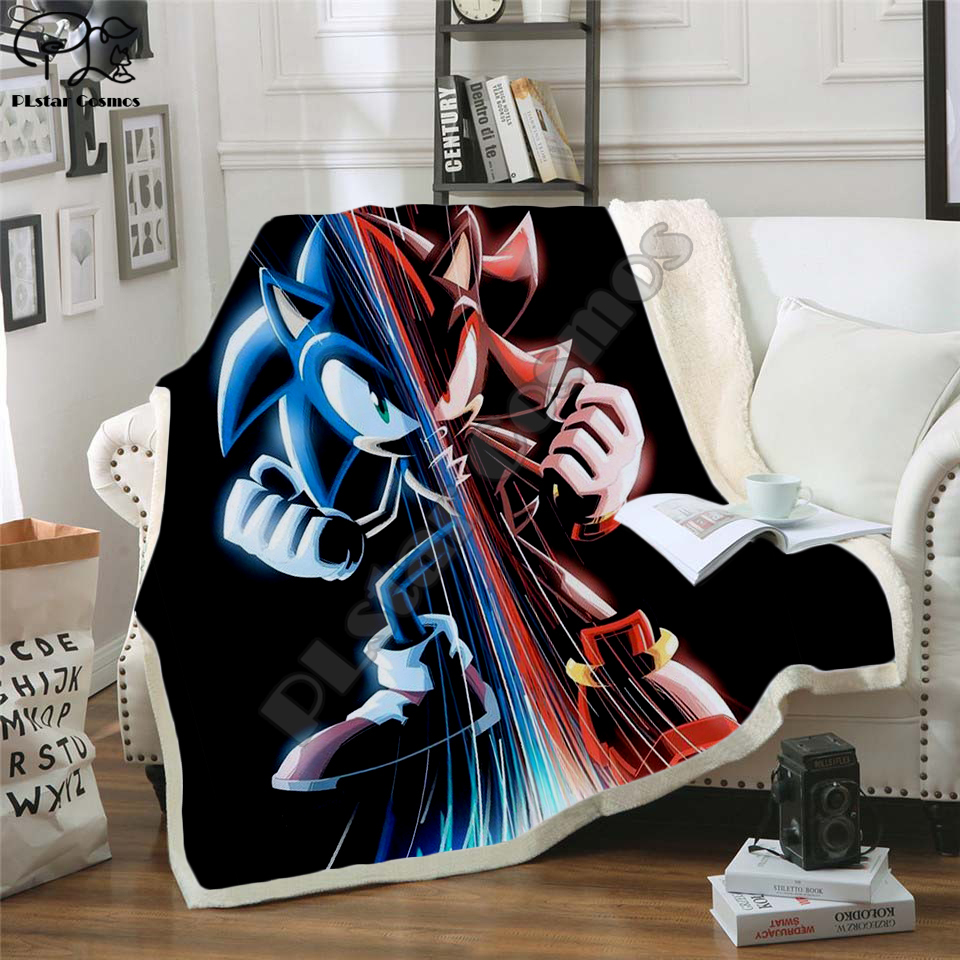 Anime Super Sonic Blanket Design Flannel Fleece Blanket Printed Children Warm Bed Throw Blanket Kids newborn bayby Blanket 001