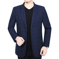 Men Business Casual Blazers Blue Purple Gray Plaid Slim Fit Notched Jacket Suits Male Autumn Spring Classic Blazer Suit Outfit