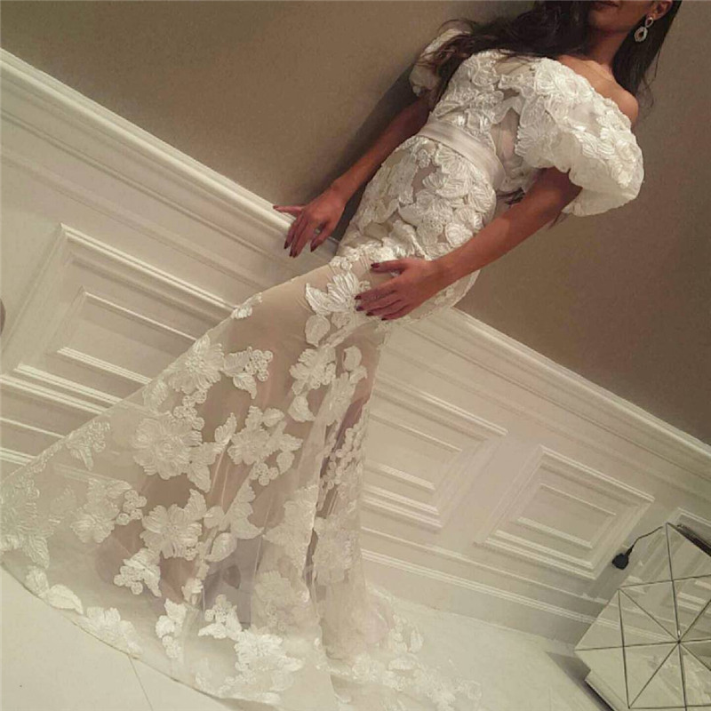 Evening gown Mermaid Short Sleeves Off the Shoulder Lace Fabric Sweep Train 2018 robe de soiree mother of the bride dresses
