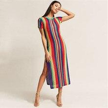 2019 Multicolored Vertical Stripes Summer Beach Dress Crochet Tunic Women Sexy O-Neck Short Sleeve Side Split Midi Dress vintage geometrical printing side split midi dress
