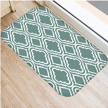 40*60Cm Groen Gestreepte Floor Mat Antislip Suède Tapijt Deur Mat Keuken Woonkamer Vloermat thuis Slaapkamer Decoratieve Floor Mat