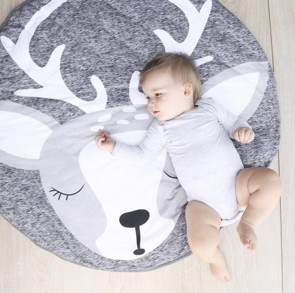 Nordic INS With Children's Room Crawling Mat Christmas Elk With Cotton Game Pad Photograph Props For Kids Playing