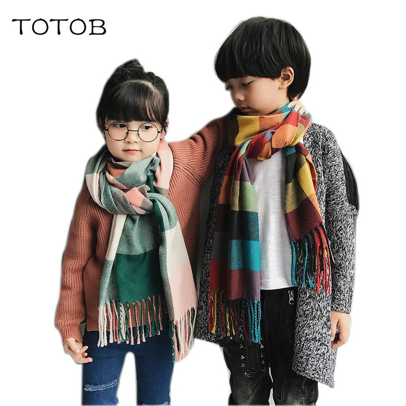 Parent-child Scarf Autumn And Winter Korean Children's Thick Scarf Long Paragraph Wild Lattice Collar Cashmere Warm Shawl