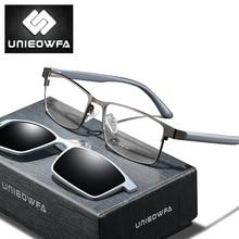 UNIEOWFA 2 в 1, магнитная оправа для очков, Мужские поляризационные солнцезащитные очки, оптические очки для близорукости, оправы для очков TR90