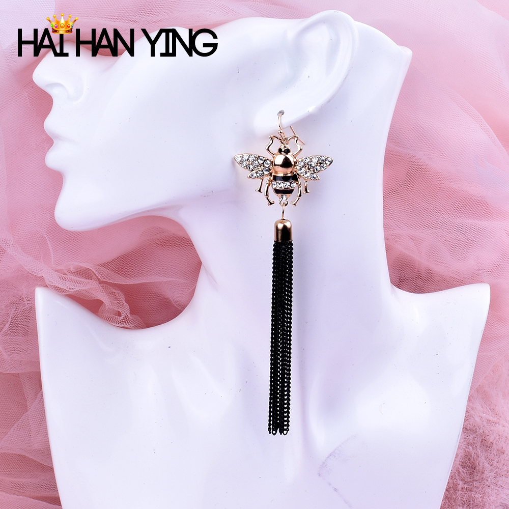 2019 Women's Long Tassel Bee Animal Drop Earrings Fashion Tassle Earrings gold Jewelry funny boucle d'oreille femme Earrings
