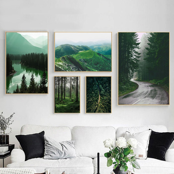 Mountain Lake Forest Road Travel Quotes Wall Art Canvas Painting Nordic Posters And Prints Pictures For Living Room Decor