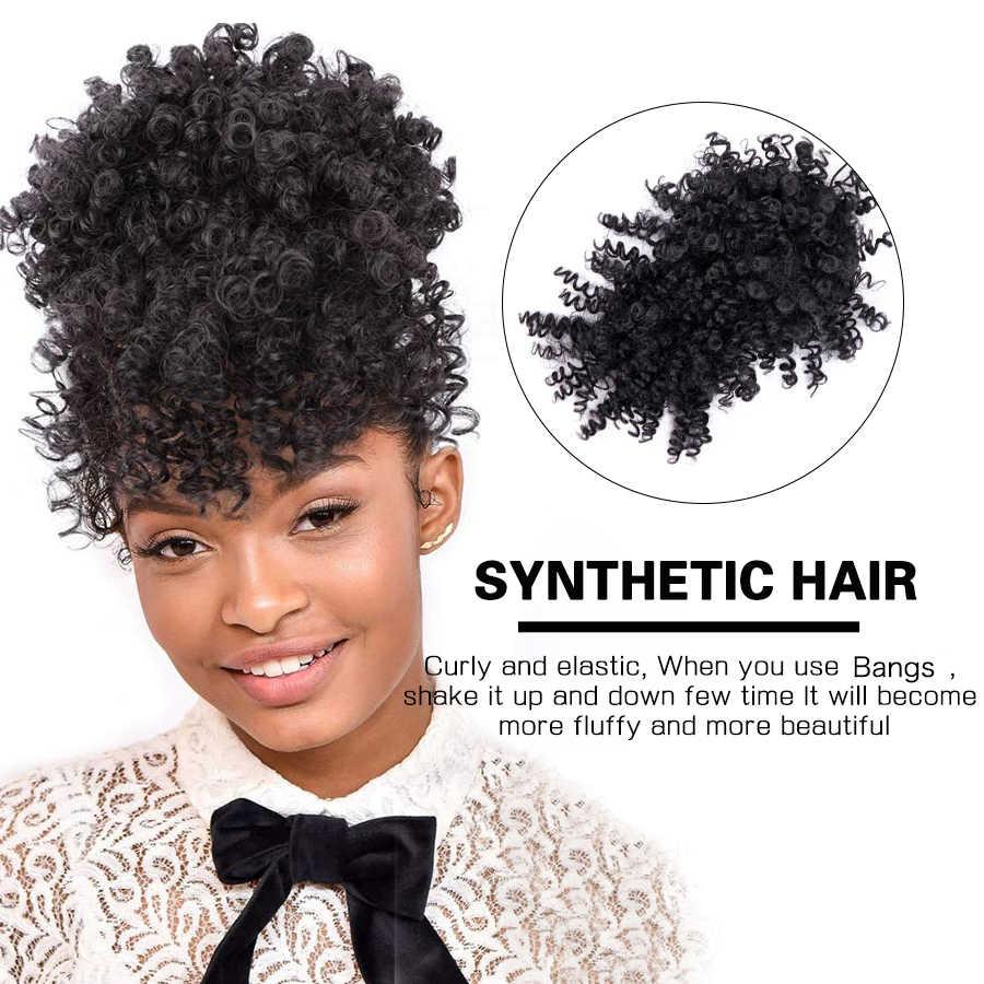 Leeons кудрявые челки синтетические кудрявые вьющиеся волосы зажимы для челки на наращивание волос Кудрявые бахромы шиньоны для женщин аксессуары для волос