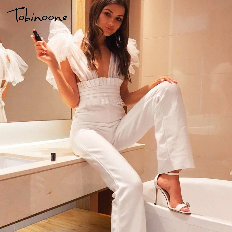 Tobinoone Sexy Lace Mesh Women Jumpsuit Romper High Waist Party Ladies Long Jumpsuit V Neck Backless Clubwear Female Overalls