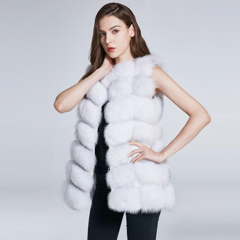 Couleur unie noir/rouge/blanc/marron/gris hiver chaud femmes fourrure de renard gilet sans manches gilet avec deux poches cachées