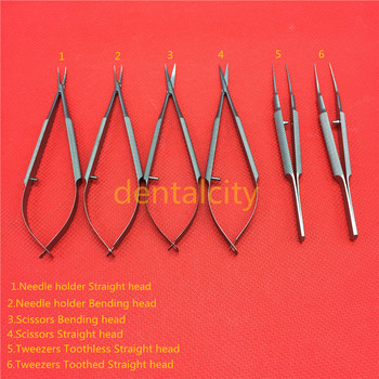 Stainless steel ophthalmic microsurgical instruments 14cm scissors+Needle holders +tweezers Stainless steel surgical tools