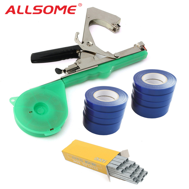 ALLSOME Tying Machine Plant Garden Plant Tapetool Tapener 10 Rolls Tape Set for Vegetable, Grape, Tomato,Cucumber, Pepper Flower