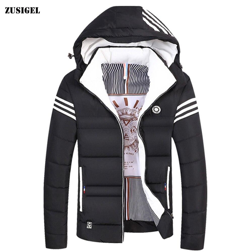 ZUSIGEL 2019 Korean Fashion Short Style Mens Parka Jacket Youth Thicken Warm Casual Men Parka Winter Single Breasted Men Coats