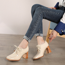2019 Fashion High Heel Shoes Woman VALLU Handmade Genuine Leather Female Pumps Lace Up Lady Platform Square Toes Casual
